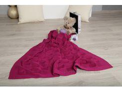 Плед детский ОТМ Дизайн 2586383 Сердечко малиновый 90х120 см