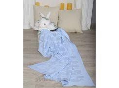 Плед детский Сердечко ОТМ Дизайн 2586381 голубой 90х120 см