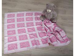Плед детский ОТМ Дизайн 2586387 Человечки розовый 80х120 см