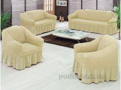 Чехол Arya Burumcuk натуральный для трехместного дивана - 1 шт.