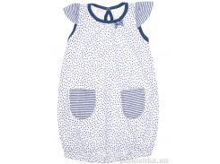 Платье для девочки Татошка 17130 кулир белый в синий горох 104