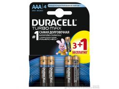 Батарейки Duracell TurboMax AAА алкалиновые 1.5V LR03 (3 плюс 1 шт.)
