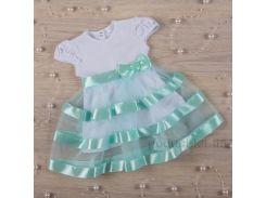 Платье с коротким рукавом Маленькая леди Бетис кулир бирюзовый 92