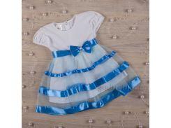 Платье с коротким рукавом Маленькая леди Бетис кулир голубой 74