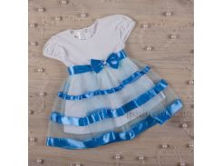 Платье с коротким рукавом Маленькая леди Бетис кулир голубой 86