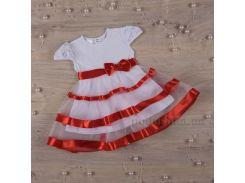 Платье с коротким рукавом Маленькая леди Бетис кулир красный 98