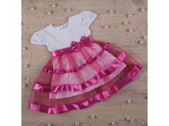 Платье с коротким рукавом Маленькая леди Бетис кулир малиновый 74 коралловый