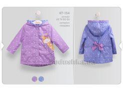 Куртка для девочки Bembi КТ154 плащевка 80 фиолетовый с рисунком