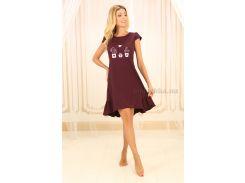 Сорочка ночная Violet Delux НС-М-85 сливовое вино Кактусы S