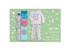 Пижама для девочек Bembi КП189 интерлок 116 цвет малиновый с серым+рисунок