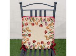 Подушка для стула гобеленовая Emilia Arredamento Цветущие тюльпаны 40x40 см 40х40 см