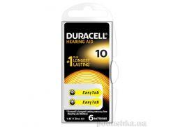 Батарейка Duracell для слуховых аппаратов размер 10 (6 шт.)