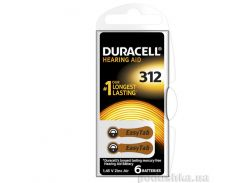 Батарейка Duracell для слуховых аппаратов размер 312 (6 шт.)