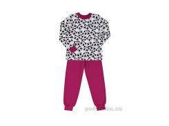 Детская пижама Bembi ПЖ42 140 белый с розовым+рисунок