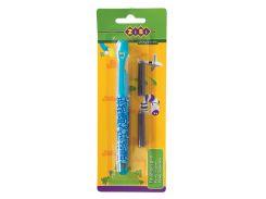 Ручка перьевая открытое перо 2 капсулы голубой корпус с рисунками картонный блистер Kids Line ZiBi txt ZB2242