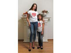 Футболка женская (family look) белая Модный карапуз 111-00006_belaya-roza_ S