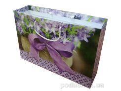 Пакет большой подарочный Букет фиолетовых цветов 36х24