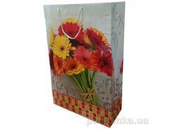 Пакет подарочный Герберы 33х45