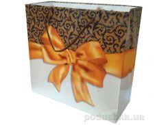 Пакет подарочный Бантик золотистый 22 х 22 х 8 см