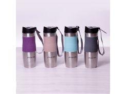 Термокружка Kamille 480мл с TPR-вставкой и ремешком 2051 цвет фиолетовый
