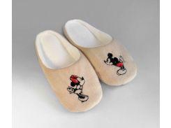 Домашние тапочки-шлепки с вышивкой Slivki Микки Маус бежевые 34-35