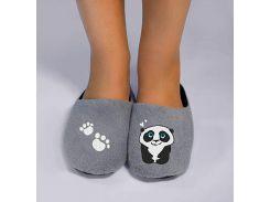 Домашние тапочки-шлепки с вышивкой Slivki Панда серые 34-35