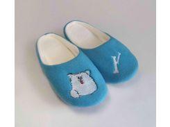 Домашние тапочки-шлепки с вышивкой Slivki Собачка голубые 36-37