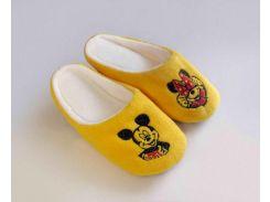 Домашние тапочки-шлепки с вышивкой Slivki Микки Маус желтые 34-35
