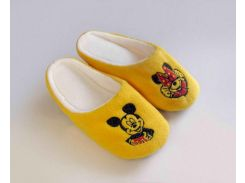 Домашние тапочки-шлепки с вышивкой Slivki Микки Маус желтые 42-43