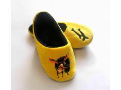 Домашние тапочки-шлепки с вышивкой Slivki Такса желтый 42-43