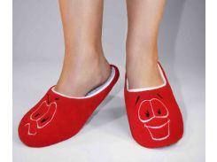 Домашние тапочки-шлепки с вышивкой Slivki Смайлик красный 34-35