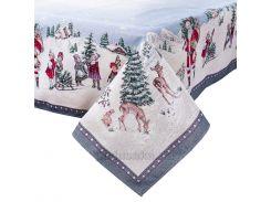 Скатерть гобеленовая новогодняя LiMaSo Зимняя сказка 137х137 см
