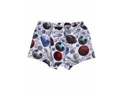 Трусы для мальчика Татошка 11636 интерлок, белые со спортивными мячами 134