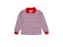 Джемпер поло для мальчика Татошка 07580пкр интерлок, красный в синюю полоску 122
