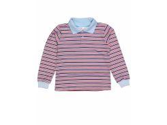 Джемпер поло для мальчика Татошка 07580пкр интерлок, голубой в синюю и красную полоску 110
