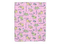Пеленка Татошка 222 футер, розовая со слониками 95х115 см