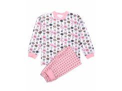 Пижама для девочки Татошка 01202брш футер, белая с розовыми барашками 122