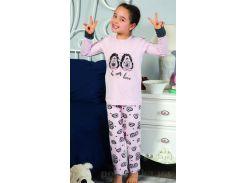Пижама Elitol для девочек розовая 19070 с парочкой ежиков 7-8