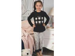 Пижама для девочек Elitol черно-серая 19160 с пандами 3-4