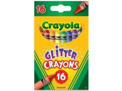 Цветные восковые мелки с блесточками Glitter Crayons 16шт 52-3716 Crayola