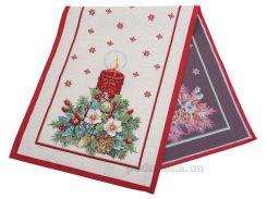 Дорожка гобеленовая новогодняя LiMaSo Рождественская свеча 45x140 см