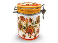 Ёмкость для сыпучих S&T цветочная роспись 0,75 л ST 629-16