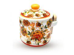 Банка для меда с деревянной ложкой S&T цветочная роспись ST 2370-16