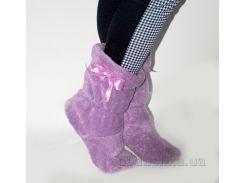 Домашние тапочки Модна Країна фиолетовые с розовым бантиком 36-37