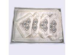 Набор Zelal Скатерть жаккардовая кремовая с салфетками 12 шт. с кружевом 160х300 см