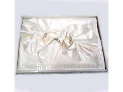Набор Zelal Скатерть жаккардовая в подарочной упаковке белая с салфетками 8 шт. 160х220 см