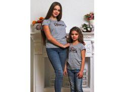 Футболка женская (family look) серая Модный карапуз 111-00006_Seraya-kanat XL