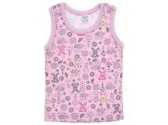 Майка для девочки Татошка 25628 интерлок, розовая с зайчатами 86