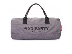 Спортивно-повседневная сумка Poolparty Gymbag серая gymbag-oxford-ripple