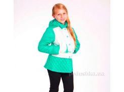 Курточка-трансформер для девочки Димакс КуД 58 молочный-бирюза 140